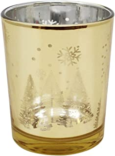 Just Artifacts Christmas Metallic Votive Candle Holder 2.75-Inch - Gold Winter Wonderland (Set of 25) - Glass Votive Candle Holders for Weddings and Home Décor
