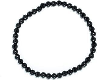 Taddart Minerals - Bracelet noir en pierre précieuse naturelle tourmaline Schörl avec boules de 4 mm montées sur fil de ny...