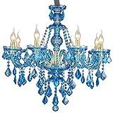 Araña De Cristal Color Azul Lámpara De Techo De Vidrio Moderno Lujo Colgante De Luz...