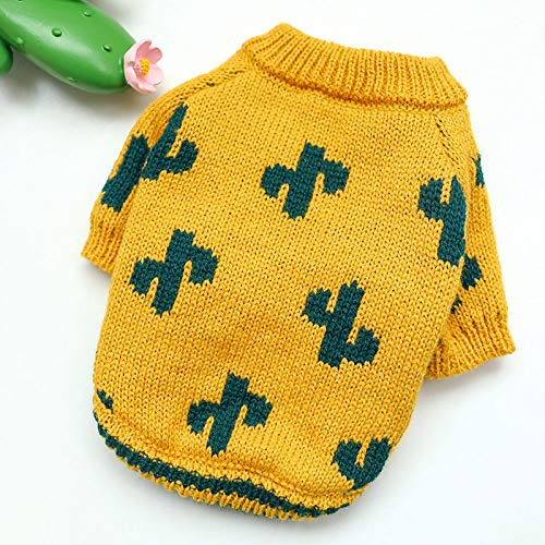 MHCY Pet Clothes Dog Cat Comfort Cotton Fashiondog Puppies Clothes Turmeric Cactus Sweater Pet Cat Knitting Spring And Autumn Pet Dog Clothing Cloth Dog Sweater,L