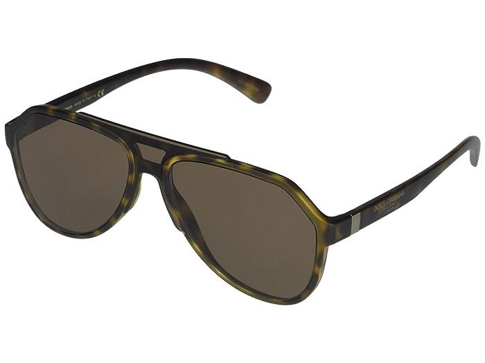 Dolce and Gabbana  DG6128 (Matte Havana/Brown) Fashion Sunglasses