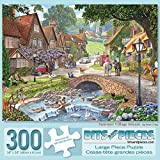 Bits and Pieces - 300 Piece Jigsaw Puzzle for Adults 18' x 24' - Summer Village Stream - 300 pc Downtown Old Fashioned Cottage Village Jigsaw by Artist Steve Crisp
