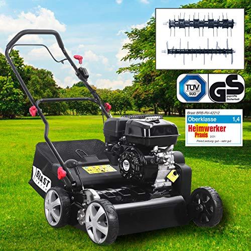 BRAST Benzin Vertikutierer 4,0kW (5,44PS) 42cm Arbeitsbreite 50L Fangkorb Motordrehzahlregler 2in1 Rasenlüfter Moosentferner 212ccm