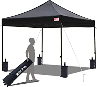 MasterCanopy Pop Up Canopy Tent Commercial Instant Canopies with Heavy Duty Roller Bag,Bonus 4 Canopy Sand Bags (10x10 Feet, Black)