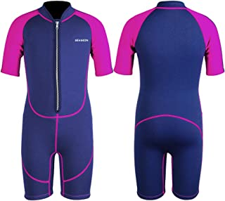 Kids Wetsuit Shorty, 2mm Neoprene Thermal Swimsuit Toddlers Girls Boys Front Zipper Keep Warm for Diving Surfing Swim Lessons
