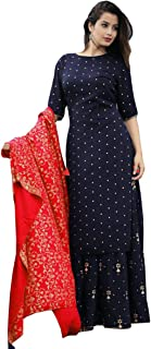 Sunrise Paridhan Women's Rayon Kurti With Palazzo Pant And Full Golden Print Work Red Dupatta Set Women & Girls.