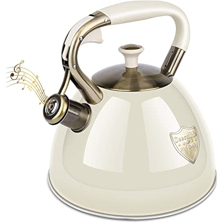Anti-Hot Handle Stainless Steel Cookers Tea Pot Loud Whistle Anti-Rust Water Pot 2-Liter Whistling Teakettle Whistle Teapot Stovetop Ourelects Tea Kettle Metallic Pink