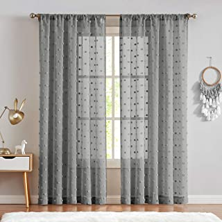 Sheer Window Curtains Textured Rod Pocket Voile Curtain Set Bedroom Embroidered with Pom Pom Living Room Voile Sheers 2 Panels 63 inch Grey