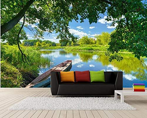 Blue Sky Clouds River Boat Green Trees Landscape 3D Wallpaper,Living Room Sofa TV Wall Bedroom Restaurant Mural 350(L) x245(H) cm