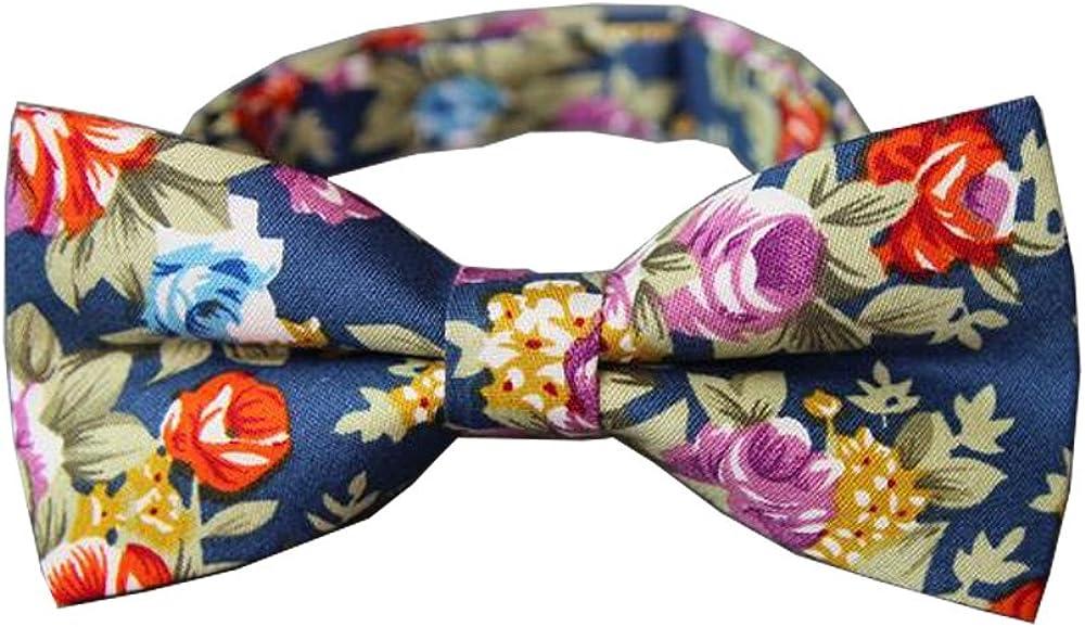 D&L Menswear Men's Pre-Tied Floral Bow Tie Adjustable Neck Wedding Party Bowtie