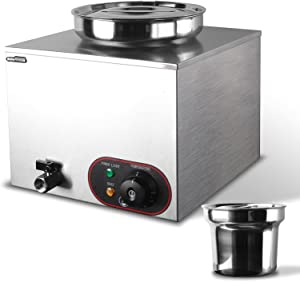 Commercial Soup Warmer Steam Table Food Steamer Buffet Warmers Electric Food Heater Stainless Steel Cooker for Restaurant Catering Parties (1 Pot)