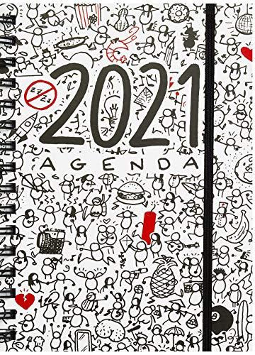 MIQUELRIUS - Agenda 2021 T-Diary - Español, Día página, Tamaño 155 x 213 mm (~A5), Papel 90g, Cubierta Rígida Cartón Forrado, Color blanco, Busca y encuentra
