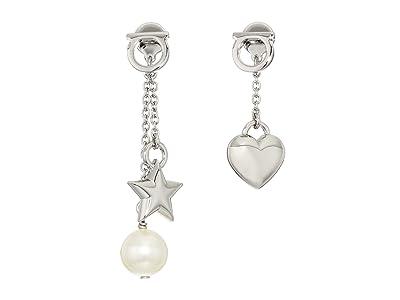 Salvatore Ferragamo Gancio Charm Stud Earrings with Pearl (Silver-Tone) Earring