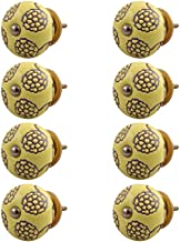Indian-Shelf Handmade Ceramic Floral Door Knobs Etched Dresser Pulls Wardrobe Handles(Yellow, 1.5 Inches)-Pack of 8