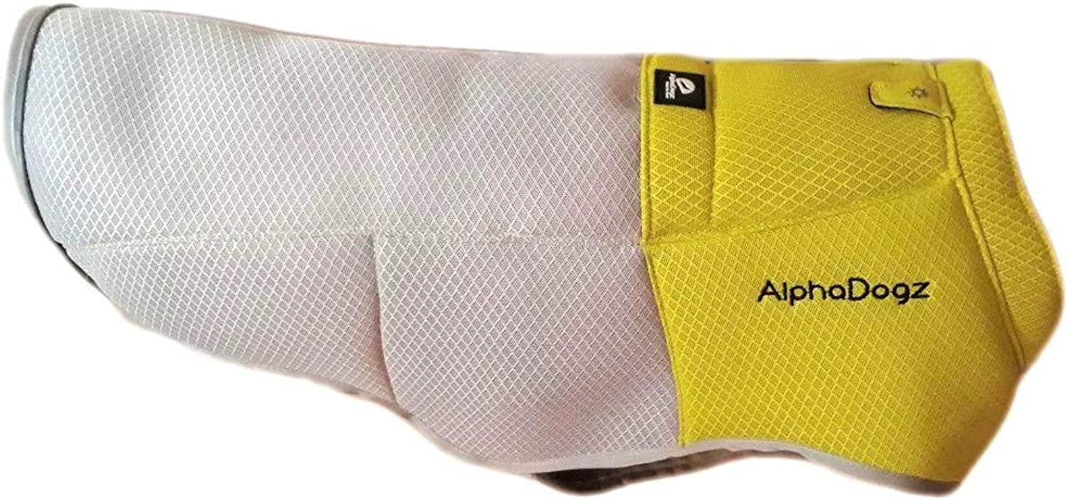 AlphaDogz, Adjustable Cooling Vest and Harness for Dogs, Combines Pet Safety, Comfort and Control. Lightweight, Reflective, High Visibility, Evaporative Grey and Green Coat, Size Medium