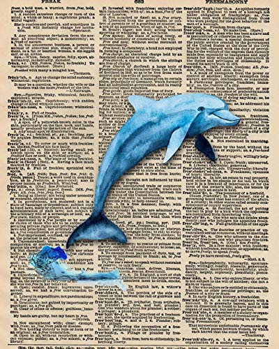 Notebook: 8x10 Inch Matte Softcover Paperback Journal With 120 Blank Lined College Ruled Pages, Upcycled Dictionary Dolphin Cover Design