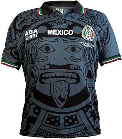 ABA Sport - Camiseta de fútbol de la Copa del Mundo de 1998, edición Gala de México, Color Negro