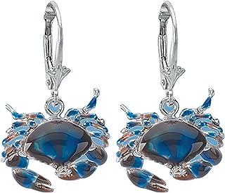 925 Sterling Silver Stone Crab Earrings, Leverback, Blue Enamel
