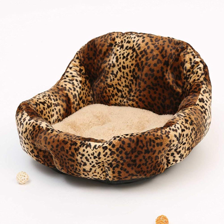 RABILTY Teddy Pomeranian Kennel Spring Dog House Back Nest Small Dog Kennel Pet Huddle (color   Leopard Print)