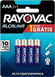 Pilha, Rayovac, 20324, Azul, AAA, Palito, pacote de 4