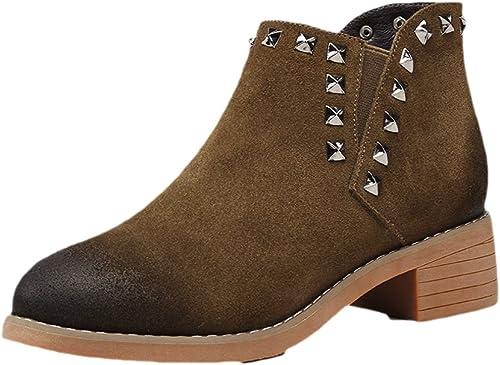botas para mujer botas De Cuero De Color Frojoado Además De Remaches De Terciopelo