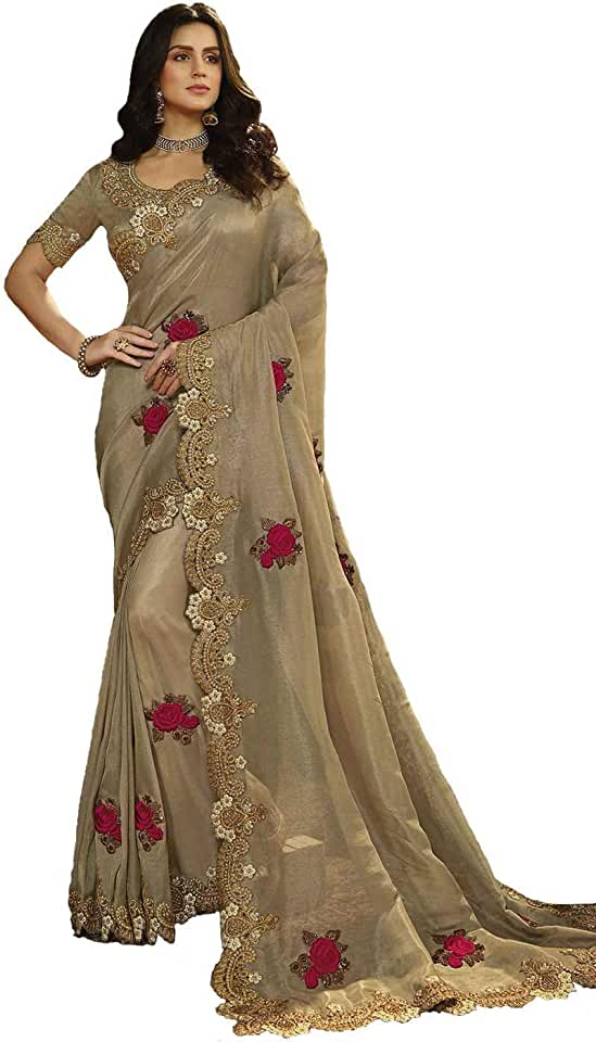 Indian PRIME FAIR Women's Georgette Wedding Saree with Unstitched Blouse Piece (Gold) Saree