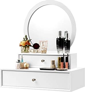CHARMAID 2-in-1 Vanity Mirror with 2 Removable Drawers, Vanity Mirror Wall Mount or Placed on the Desk, Round Makeup Mirror DIY for Bedroom, Bathroom Vanity Over Sink, Modern Bathroom Vanity (White)