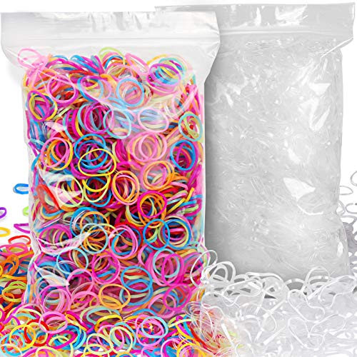 YGDZ 4000pcs Girls Rubber Bands, Small Clear Elastic Hair Rubber Bands Kids Baby Girls Toddlers Hair Ties(2000pcs Clear + 2000pcs Colorful)