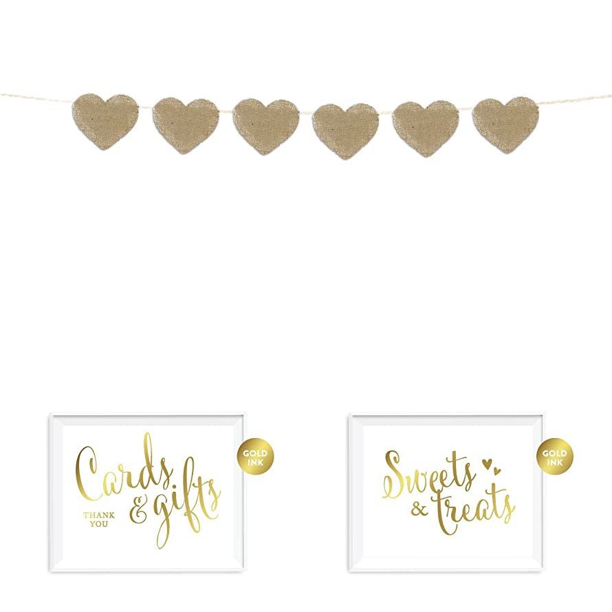 Andaz Press Real Burlap Fabric Pennant Hanging Banner with Gold Ink Party Signs, 15 Blank Writable Heart Pennants, Pre-Strung, No Assembly Required, 1-Set, For Personalized or Custom Decorations