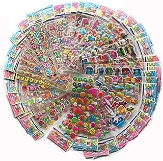 Stickers - 100Sheets 3D Cartoon Stickers Waterproof Bubble PVC DIY Sticker Princess Car Girls Boys Kids Children Gifts (Fo...