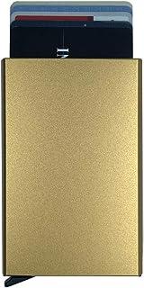 Minimalist credit card case,Metal pop-up card pack RFID Blocking (Gold)