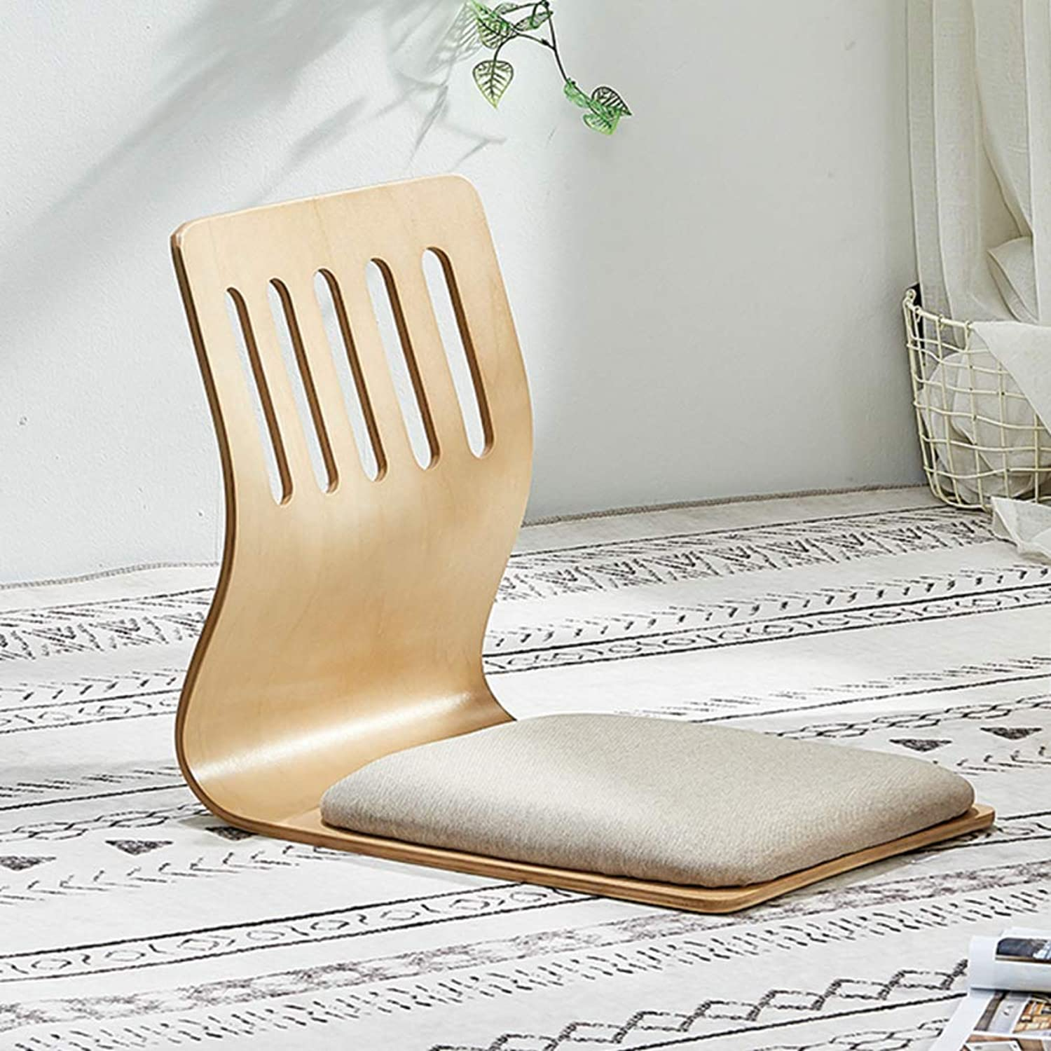 Padded Floor Chair, Wood semi-Foldable Legless Chair Sponge Filled Floor Chair Spine Support Tatami Chair Meditation Chair Bed seat -F