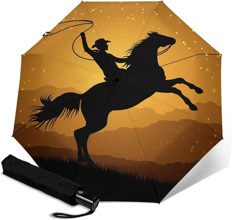 Silhouette Of Cowboy Lasso Windproof Auto Umbrella 2021 new Dedication Clo With Open