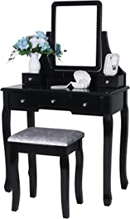 BEWISHOME Vanity Set with Mirror & Cushioned Stool Dressing Table Vanity Makeup Table 5 Drawers 2 Dividers Movable Organizers Black FST01H