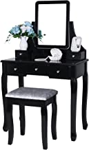 BEWISHOME Vanity Table Set with Mirror & Cushioned Stool Dressing Table Vanity Makeup Table 5 Drawers 2 Dividers Movable Organizers Black FST01H