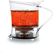 TEAXPRESS EasyBrew Bottom Dispensing Teapot Loose Tea Maker/Kettle/Infuser/Strainer; 450ml; Transparent/Clear
