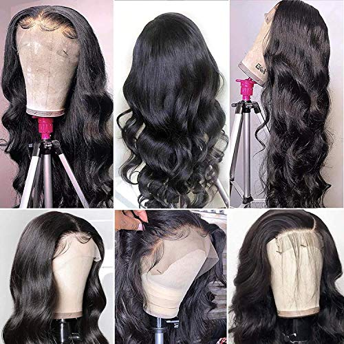 Ownmehair Body Wave Lace Front Human Hair Wigs For Black Women 4x4 Transparent Lace Closure Human Hair Wigs 100% Brazilian Pre Plucked Hairline with Baby Hair Lace Frontal Wigs 20Inch