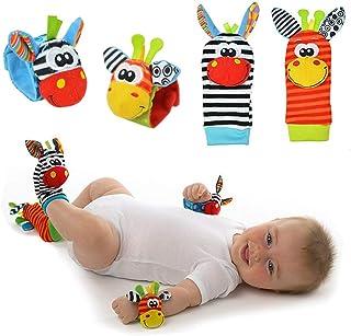 Calcetines Muñequera para bebé,Sonajeros incorporados,Juguetes sensoriales,0-6 Meses