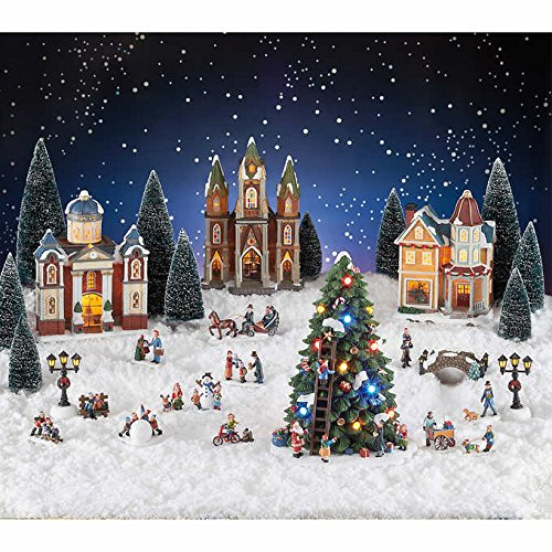 30 Piece Holiday Christmas Village with LED Lights and Music - Plays 8 Classic Christmas Songs