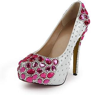 Women's High Heels Wedding Shoes, Fine Heel High 14 cm Glass Diamond Shallow Mouth Rhinestones Platform High Heels Non-Slip Suitable for Banquet Wedding