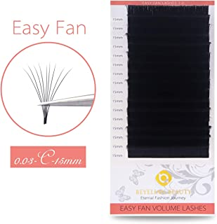 BEYELIAN Mega Volume Easy Fan Eyelash Extensions Self Fanning Mink Lash Extensions Professsional Stylists Use .03mm Fine up to 16D 20D C Curl 15mm