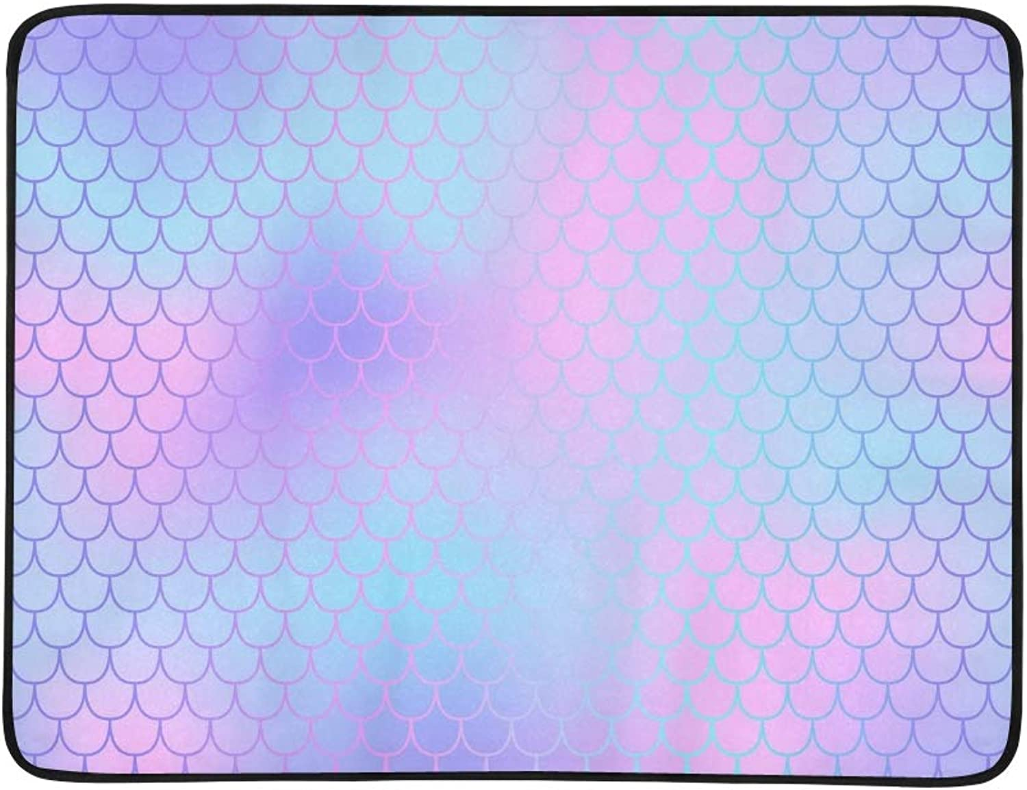 Pink purple Fish Skin Scale Portable and Foldable Blanket Mat 60x78 Inch Handy Mat for Camping Picnic Beach Indoor Outdoor Travel