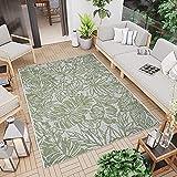 CC Teppich In-Outdoor Wetterfest - Grün-Weiß - 200x290cm - Blumen Muster Terassenteppich...