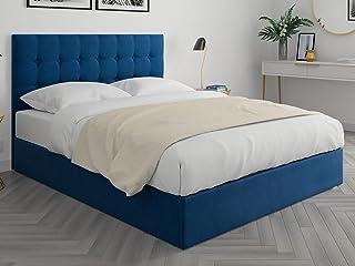 HOMIFAB Lit Adulte 140x190cm en Velours Bleu Nuit avec tête de lit capitonnée et sommier à Lattes - Collection Nino
