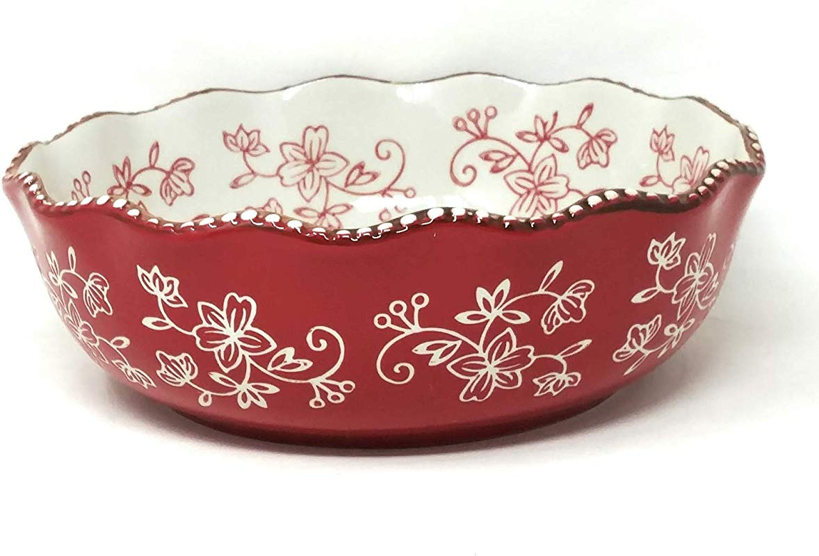 Temp Tations 4 5 Quart Ruffled Edge Mixing Or Serving Bowl 13 Diameter Floral Lace Red