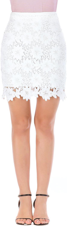 Women's Short Skirts, Elastic Waist Pencil Skirt and Lace Miniskirt