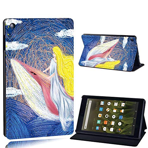 FINDING CASE For Amazon Fire HD 8 (6th 7th 8th Gen) Tablet - Printed PU Flip Leather Smart Lightweight Shell Stand Cover Case for Fire HD 8 (6th 7th 8th Gen) (princes riding whale paint)
