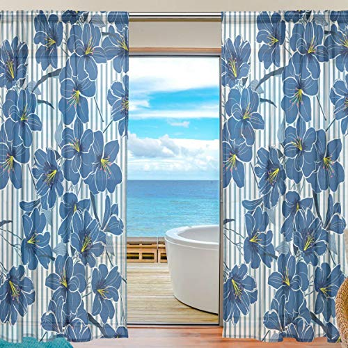 Mnsruu Cortinas de Ventana Transparentes para Sala de Estar Dormitorio Flores Florales Conjunto de 2 Paneles de Cortina de poliéster Estampado a Rayas Azules de poliéster, 200x140cm