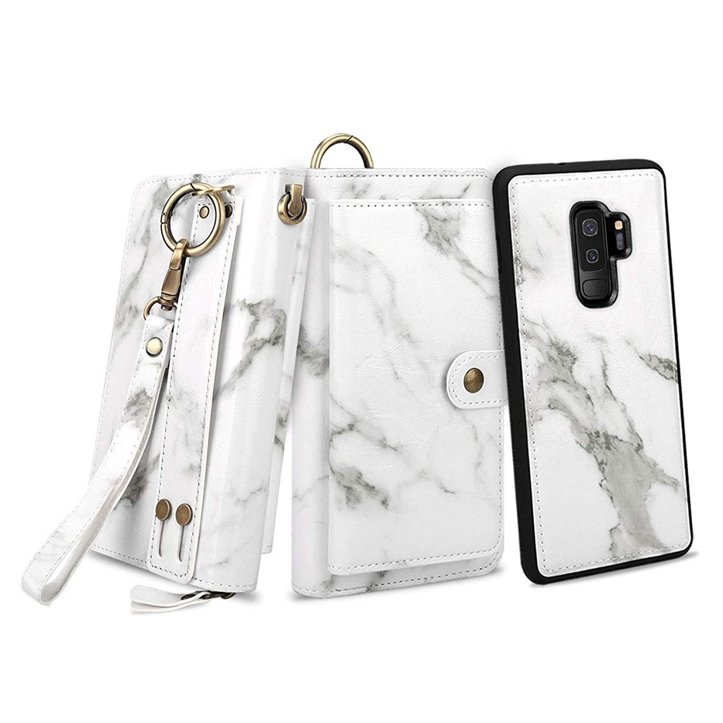 Petocase Compatible S9 Plus Wallet Case, Multi-Function Zipper Purse with Detachable Magnetic Back Cover Wristlets 13 Card Slots & 4 Cash Pocket Cover for Samsung Galaxy S9 Plus White Marble