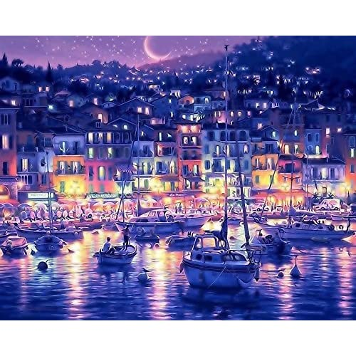 PBN Kit for Adults Girls Kids White Christmas Decor Decorations Gifts Paint by Number Kits Harbor Seaport Bay Night 16*20 inches Diy Oil Painting by Numbers New Release, Wooden Framed or Not